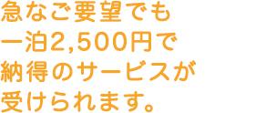 急なご要望でも一泊2,000円で納得のサービスが受けられます。